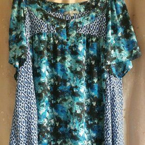 NY Collection- Semi sheer -Blue print Blouse L